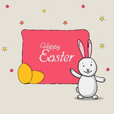 Happy Easter celebration greeting card design. Happy Easter celebration greeting card with cute bunny and yellow eggs royalty free illustration