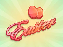 Happy Easter celebration poster or banner. Colorful text Easter with eggs on shiny rays background, can be used as poster or banner design Royalty Free Stock Images