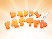 Happy Easter celebration poster or banner design. Glossy text Happy Easter with cute smiley rabbit on abstract rays background, can be used as poster or banner Royalty Free Stock Images