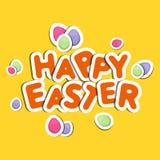 Happy Easter celebration with stylish text. Stylish paper text Happy Easter with colorful eggs on yellow background Royalty Free Stock Image