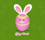 Happy Easter celebrations greeting card design with bunny ears on green background Stock Photography