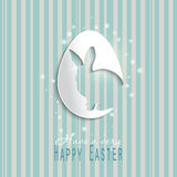 Happy Easter celebrations greeting card design with bunny silhouette. blue background Royalty Free Stock Photography
