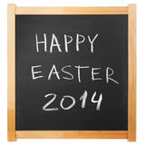 Happy Easter 2014 chalk handwritten Royalty Free Stock Photography