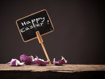 Happy Easter on a chalkboard Stock Photos