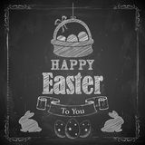Happy Easter on chalkboard. Illustration of Happy Easter on chalkboard Royalty Free Stock Photography