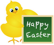 Happy Easter Chick with Chalkboard Illustration Stock Image