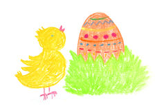 Happy easter with chick and egg Royalty Free Stock Photos