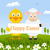 Happy Easter Chick & Lamb in a Meadow Royalty Free Stock Photos