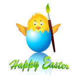 Happy easter chicken. Happy easter chicken in blue egg. Great for easter greeting card stock illustration