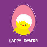 Happy Easter. Chicken bird with shell on head inside painted egg frame window. Dash line contour. Cute cartoon character. Baby gre. Eting card. Violet background Royalty Free Stock Images