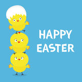 Happy Easter Chicken pyramid family set. Egg shell on head. Cute cartoon funny character. Three baby chick bird friends. Greeting Stock Image