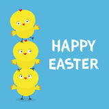 Happy Easter Chicken pyramid family set. Farm animal. Cute cartoon funny character. Three baby chick bird friends. Greeting card. Stock Images