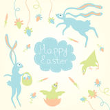 Happy Easter. Chikens, eggs and rabbits. Royalty Free Stock Images