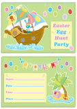 Happy Easter children`s egg hunt party invitation card. With cute pirate bunny,pirate ship and treasure island Stock Photography
