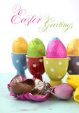 Happy Easter chocolate eggs Stock Image