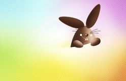 Happy easter, chocolate funny bunny showing the sign isolated on Royalty Free Stock Photography