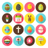 Happy Easter Circle Icons Set with long Shadow Stock Image