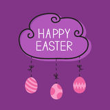 Happy Easter. Cloud frame. Hanging painted eggs. Dash line with bows. Greeting card. Flat design style. Royalty Free Stock Photography