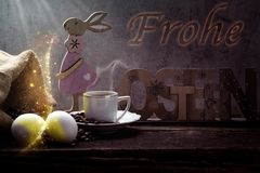 Happy Easter, coffee and Easter decoration. With eggs royalty free stock photos