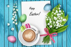 Happy Easter coffee table top view Royalty Free Stock Photos