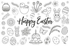 Happy Easter collection object, design element. Hand drawing, outline style. Easter coloring page set. Vector Stock Photo