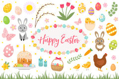 Happy Easter collection object, design element.  spring set with cake, basket, eggs, bunny, flowers, nestlings and more Stock Images
