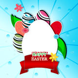 Happy easter. Colored background with eggs and ribbon Stock Photos