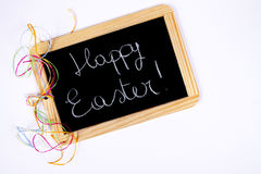 Happy Easter. Colored eggs and blackboard with wooden edge for a happy Easter Royalty Free Stock Photo