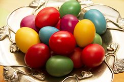 Happy Easter 2019.Colored eggs. stock photos