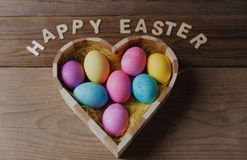 Happy Easter - Colored Eggs In A Heart Shaped Bowl