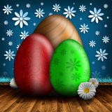 Happy Easter - colored eggs and spring flowers Royalty Free Stock Photo