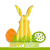 Happy Easter. Colored ticket with forms rabbit and eggs Stock Photography