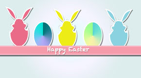 Happy Easter. Colored ticket with forms rabbit and eggs Royalty Free Stock Photography