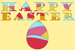 Happy Easter colorful 3D papermade Poster. On yellow background which can be use for invitations and banners Royalty Free Stock Photos