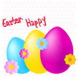 Happy easter colorful eggs and flowers on dotted background Royalty Free Stock Photo