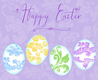 Happy Easter With Colorful Eggs on a Lavender Background Stock Images