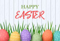 Happy Easter. Easter colorful eggs in row with different simple ornaments. white wooden background Stock Image