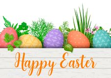 Happy Easter. Easter colorful eggs in row in white wooden crate with cooking herbs. box with simple ornaments. Stock Photography