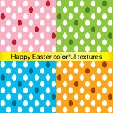 Happy easter colorful eggs seamless textures. (collection). Vector set of painted patterns (decoration). Pink, blue, orange, green Royalty Free Illustration