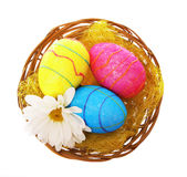Happy Easter. Colorful Glitter Eggs with Chamomile Royalty Free Stock Photos
