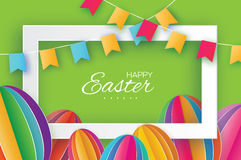 Happy Easter. Colorful Paper cut Easter Egg, flags. Rectangle frame Stock Images