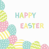Happy Easter colorful text. Painted egg corner frame. Painting shell. Heart, star, line shape pattern. Light color. Greeting card. Royalty Free Stock Images