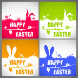 Happy easter colorful vector illustration cards Set with the big-eared rabbits silhouettes on the meadow Royalty Free Stock Photos
