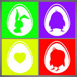 Happy easter colorful vector illustration cards Set with rabbit, chicken and heart silhouettes in egg Stock Photography