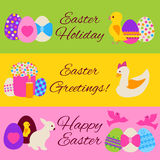 Happy Easter colorful web banners set. Vector illustration of spring holiday flyer templates Royalty Free Stock Photos