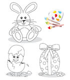 Happy easter coloring book sketches. With cute bunny, chick hatching from egg and egg with bow on flower meadow vector illustration