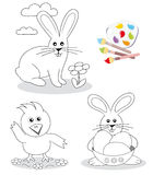 Happy easter coloring book sketches royalty free stock images