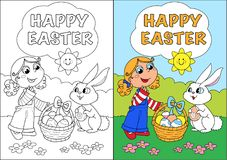 Happy easter coloring card for children Royalty Free Stock Images