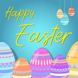 Happy Easter with colourful eggs royalty free illustration