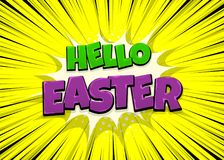 Happy Easter comic text pop art vintage poster. Happy Easter holiday comic text pop art advertise. Retro speed explosion line comics book phrase. Vector colored Stock Photo